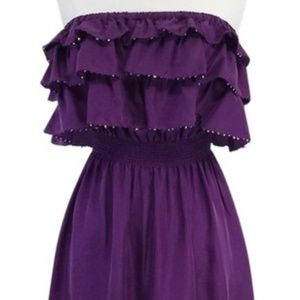 Rebecca Taylor Purple Tiered & Sequined Dress